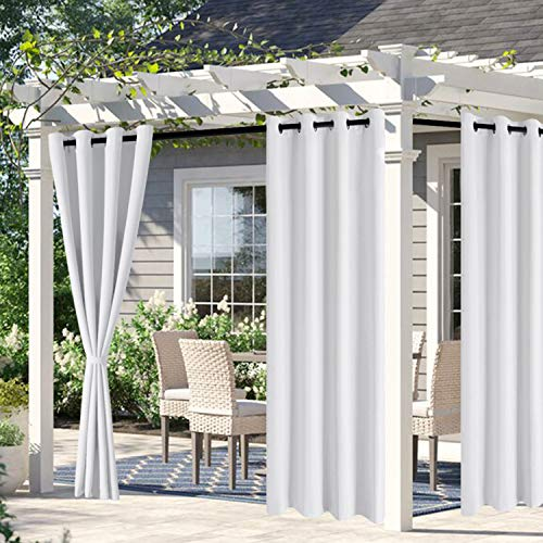 DWCN Waterproof Outdoor Curtains for Patio -Indoor Outdoor Thermal Insulated, Sun Blocking Grommet Blackout Curtains for Bedroom, Pergola, Porch and Cabana, White, 52 x 84 inches Long, 2 Panels