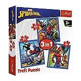 Trefl, Puzzle, Spinnenkraft, von 20 bis 50 Teilen, 3 Sets, Disney Marvel Spiderman, für Kinder ab 3 Jahren
