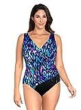 Longitude Women's Swimwear Tulum Ruffle Surplice Soft Cup Long Torso One Piece Swimsuit, Purple, 12