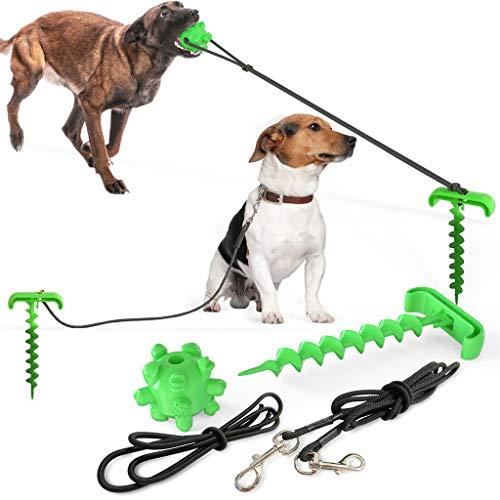 JIUYECAO, Cable de Amarre para Perros y estaca, estaca Resistente para Atar con Perro, Juguete para Masticar y Cadena de Perro elástica para Acampar en el Patio Trasero