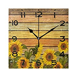 Naanle Beautiful Sunflowers on Varicolored Wooden Board Print Vintage Square Wall Clock Decorative, 8 Inch Battery Operated Quartz Analog Quiet Desk Clock for Home,Office,School