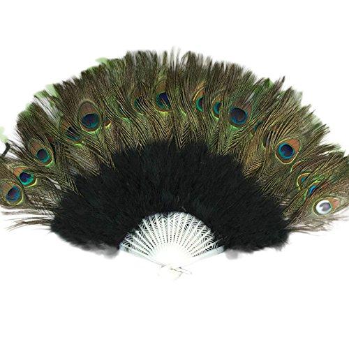 Sllowwa Handfächer Pfau Feder Fächer Schwarz Feder Fächer 1920s Vintage Stil Retro Handfächer Damen Kostüm Flapper Zubehör