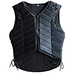 An adult equestrian safety vest