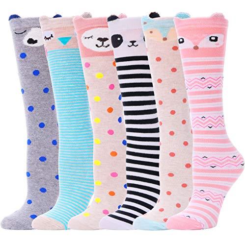 ANLISIM 6 Pair Girls Knee High Socks Cute Animal Pattern Novelty Fashion Soft Cotton Socks (Animal 1)