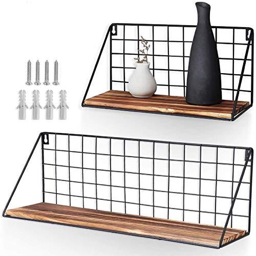 AGSIVO 2 Stück Set Schweberegal Regalbrett Deko Wandregal Holz Aufbewahrungsregale mit Metall Gitter Regal für Badezimmer Schlafzimmer Wohnzimmer Küche gewürzregal (Schwarz)