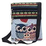 Luckycat Bolsos para Mujeres, mujer Lona Bolso de hombro Bolsas de mensajero de mujer Bordado Búho Crossbody Bolso de mano pequeño barato para niñas Señoras