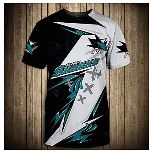 DSechcrsL Herren Kurzärmelig T-Shirt 3D Gedruckt S.An Jose Sh.Arks NHL EIS Eishockey Jersey Atmungsaktiv Sweatshirt Sommer Tshirts Kurzarm T-Shirt,Blue 1,XXXL/XXX~Large