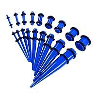 18個 アクリル 拡張器 エキスパンダー ボディーピアス ピアス アクセサリー 全6色 - 青