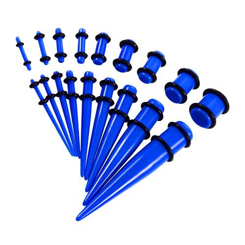 Bonarty Kit Expansor de Tapones para Los Oídos Acrílicos para Cadera de 18 Piezas, Calibradores Cónicos para Estirar - Azul
