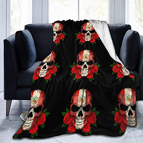 alice-shop Manta de vellón Micro Suave y acogedora del cráneo de la Bandera peruana, Ideal para Viajes de Oficina de Dormitorio