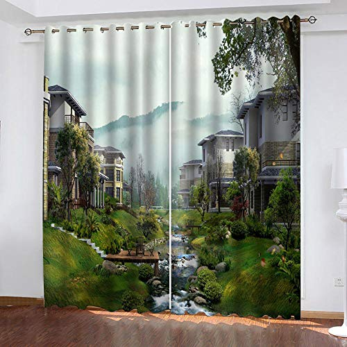 LOVEXOO Thermal Blackout Curtains Eyelet Fabric Garden Villa 28.54'x96.46' Window Treatment Solid - Privacy Protected Panel for Bedroom Living Room Home Decoration Set of 2,