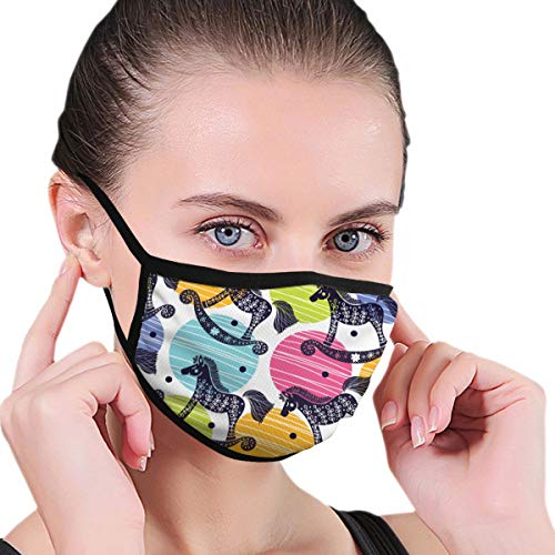 Mokale Face Cover Rocking Horses Balaclava Unisex Reusable Windproof Anti-Dust Mouth Bandanas Outdoor Camping Motorcycle Running Neck Gaiter for Teen Men Women