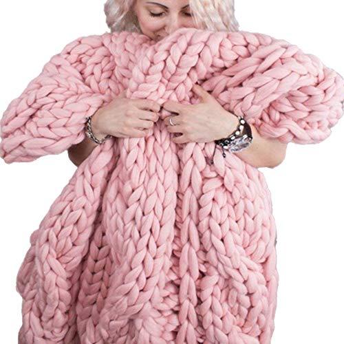 Jlxl Manta Hecha Punto Hilado Grueso, Suave for Tejer, Calentar Decoración del Hogar Alfombra for Mascotas Regalo (Color : Pink, Size : 200x200cm)