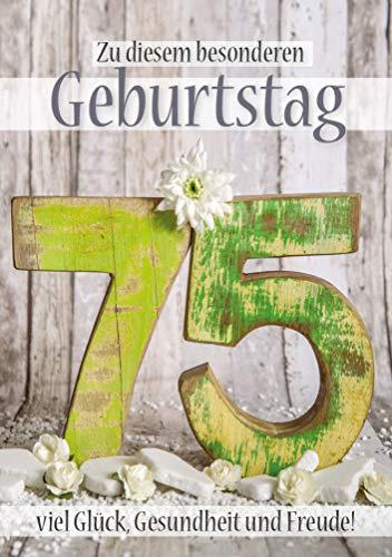 Doppelkarte mit Kuvert Zahlengeburtstag 75. Geburtstag, Ehrentag, Geburtstagskarte