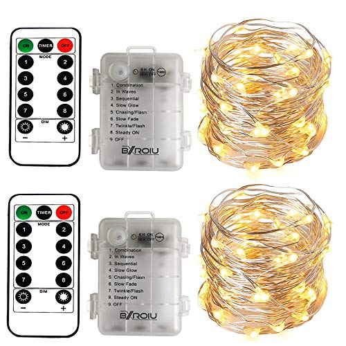 [2 Pack] BXROIU Fairy String Lights Battery Operated, Silver Wire Chains 8 Mode 5M 50 LEDs Timer Fairy Lights with Remote Control for Bedroom Christmas Party Wedding Decoration (Warm White)