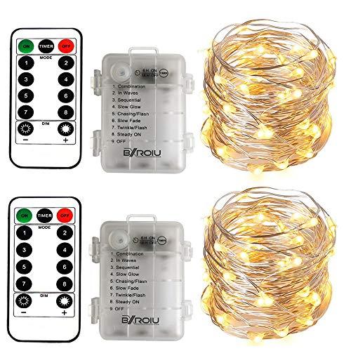 BXROIU 2 X 50LEDs Catena Luminosa a Batteria Stringa Luci 5m Argento Filo con Telecomando 8 programma (bianco caldo)