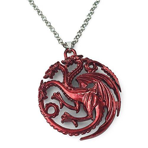 Orion Creations Game of Thrones. Rote DREI Drachen Anhänger-Halskette