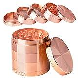 iRainy Grinder Metalico, Molinillo Metálico de Hierbas, Portátil Molinillo de Especias de 5 Piezas con Cámara Doble y Colector de Polen, 6.1cm x 5.1cm (Oro Rosa)