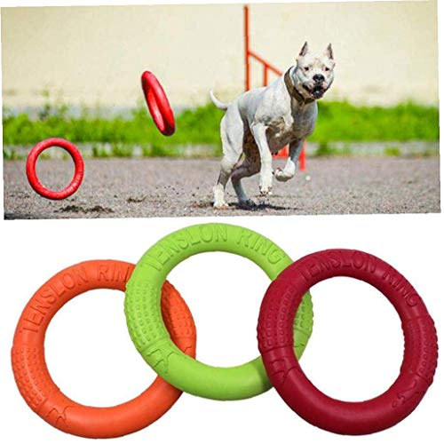 Willlly Dog Flying Training Discs 3Pcs Tragbare Dog Chic Sport Interaktives Training Ring Außen Large Dog Activity Spielzeug Pet Supplies (Color : Colour, Einheitsgröße : Einheitsgröße)