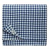 Linen & Cotton Mantel de Tela Mesa Pequeña Centro a Cuadros Estella - 100% Lino, Blanco A...