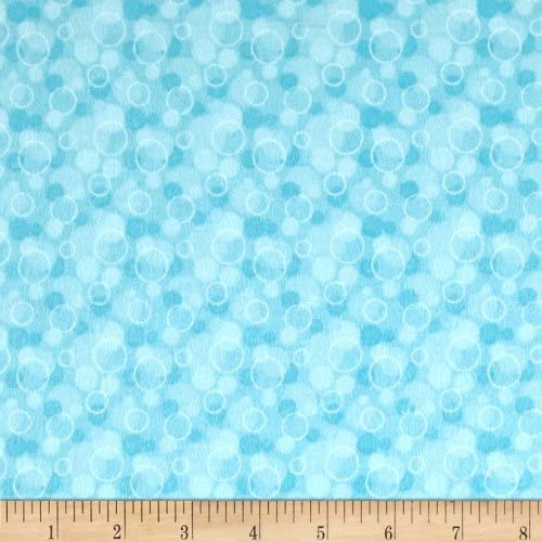 Flannel Tossed Bubbles Aqua by Yard Fabric Spring new Regular discount work one after another the