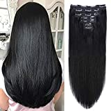 18' Clip in Human Hair Extensions Full Head 150g 7 Pieces 16 Clips Jet Black Double Weft Brazilian Real Remy Hair Extensions Thick Straight Silky (18',150g 1#)