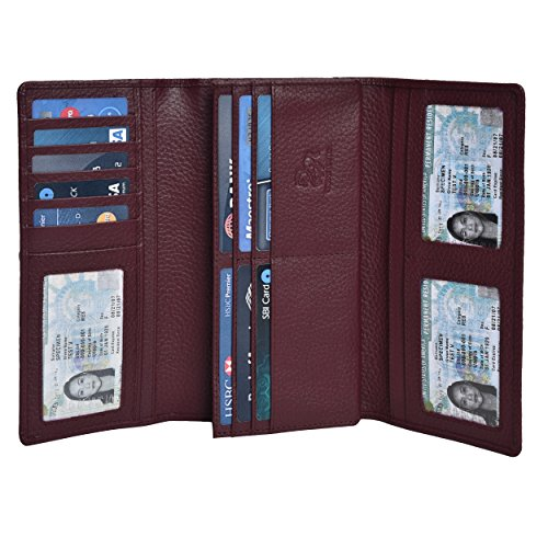 RFID Wallets for Women - Real Leather Checkbook Clutch Wallet with 11 Card Slots