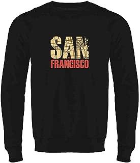 San Francisco California Retro Map Travel Crewneck Sweatshirt for Men