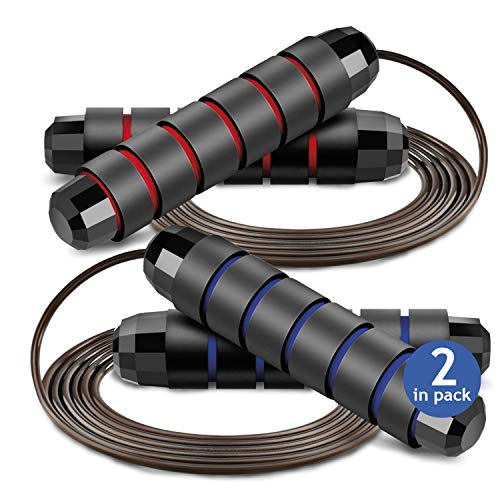Jump Rope Tangle-Free with Ball Bearing Cable Speed Memory Foam Skipping Adjustable Weighted Ropes For Fitness Crossfit Tennis Gym Weight Loss Workout Exercise Training for Men Women Kids Blue and Red