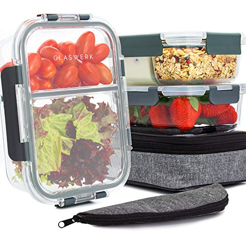 GLASWERK Frischhaltedosen aus Glas mit Deckel (3 Stück - 1040ml) - perfekt für Meal Prep - Glasbehälter mit Deckel der die Kammern 100% abtrennt