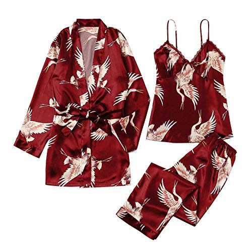 Damenpyjamas Sexy Damenpyjamas Pyjamas Dreiteiliges ärmelloses Sling-Nachthemd Damen-Spitzenpyjamas Set Casual Home Set Bequeme Hosen Pyjamas