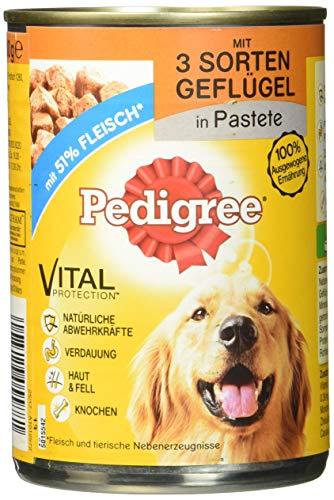Pedigree Hundefutter Nassfutter mit 3 Sorten Geflügel in Pastete, 12 Dosen (12 x 400g)