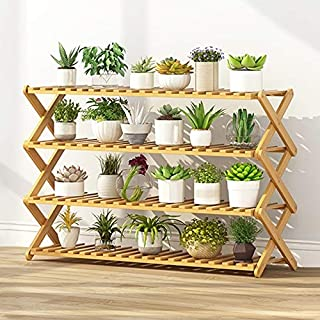 New Gardening Tools 4-Layer Balcony Living Room Collapsible Solid Wood Flower Stand Potted Planting Shelves, Length: 100cm