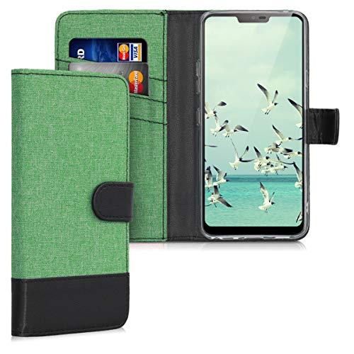 kwmobile LG G7 ThinQ/Fit/One Hülle - Kunstleder Wallet Case für LG G7 ThinQ/Fit/One mit Kartenfächern & Stand - Mintgrün Schwarz
