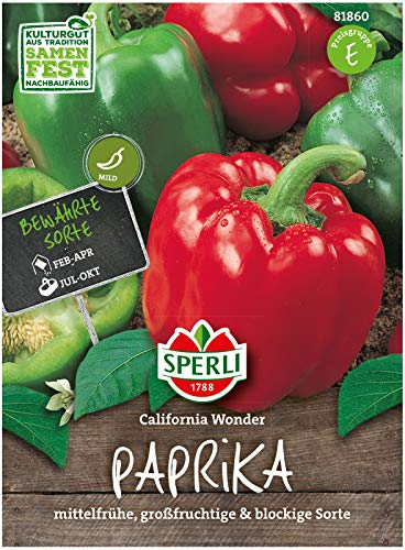 Sperli Premium Paprika Samen California Wonder ; Bewährt, Starkwüchsig, große Früchte ; Paprika Saatgut