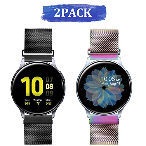 20mm Correa de Reloj Malla Acero Inoxidable para Samsung Galaxy Watch 42mm/Active2 44mm 40mm /Gear Sport/Gear S2 Classic/Garmin Vivoactive 3, Correa Metal Deporte Bandas Repuesto (20mm,Negro+Colorido)
