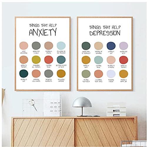 DLFALG Ansiedad Terapia de depresión Póster Impresión Salud Mental Pintura en lienzo Autocuidado Arte de la pared Imágenes Impresión Decoración de oficina-42x60cmx2 Sin marco