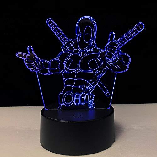 3D Super Hero Character Pattern LED Night Light 7 Couleur Chambre Lampe Décoration de Maison Cadeau de Noël pour Enfants