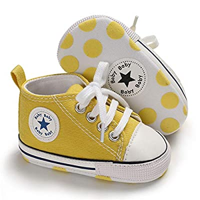 Save Beautiful Baby Girls Boys Canvas Sneakers Soft Sole High-Top Ankle Infant First Walkers Crib Shoes (0-6 Months Infant, A09-yellow) by