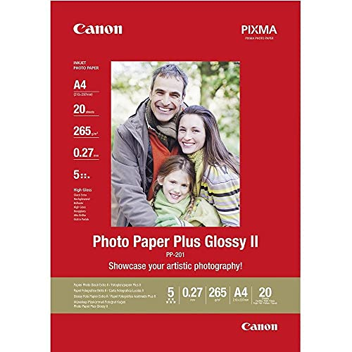Canon Fotopapier PP-201 glänzend weiß - DIN A4 20 Blatt für Tintenstrahldrucker - PIXMA Drucker (265 g/qm)