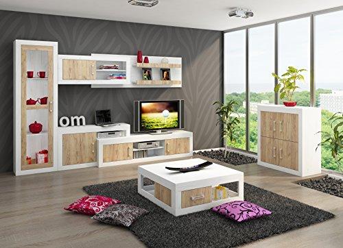 """Wohnzimmer Möbel Satz, TV Wohnwand \""""VERIN 3\"""" Große TV Bank, Freistehend Vitrine, Wandhängend Regal mit Vitrine plus Kleine 4T Kommode und Kaffetisch. Craft White/Craft Gold."""