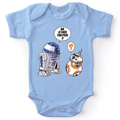 Body bébé Manches Courtes Garçon Bleu Parodie Star Wars - BB-8 et R2-D2 - BB, Je suis Ton père (Super Deformed Edition)(Body bébé de qualité supérieure de Taille 3 Mois - imprimé en France)