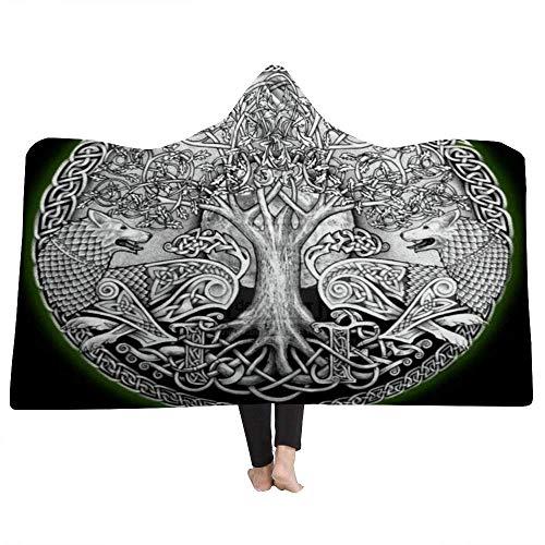 Fullife Kapuzendecke Viking-Totem Rune Tree Microfaser Flanell Winter Warm Weich Thick Mit Kapuze Decke Schlafdecke Pelzdecke Wearable Quilts für Erwachsene Kind