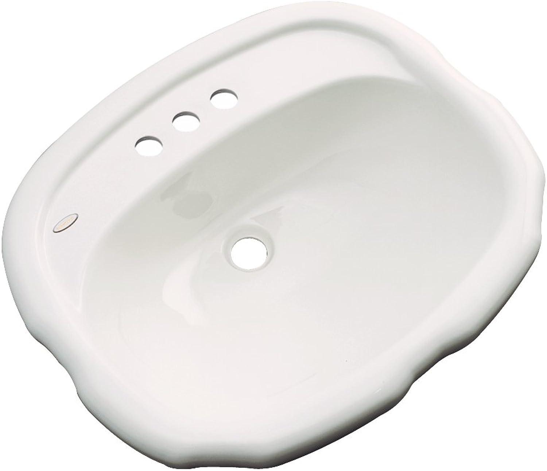 Dekor Sinks 72402 Cypress Cast Acrylic Self Rimming 3 Hole Bathroom Sink, Almond