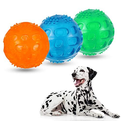 Auidy_6TXD 3 Stücke Pet Quietschball Hundespielzeug mit Quietscher Squeezz Ball 8 cm Langlebig und Wasserdicht für Hunde Katze Spielen Running