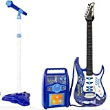 iMeshbean Boys and Girls Electric Guitar Set MP3 Player Learning Toys Microphone, Amp Blue&Pink (Blue)