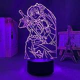 3D Illusion Lamp Ilustración de hoja de Anime Sword Art Online,3D LED Luz Nocturna para Niños, 7 Colores Cambian con Control Remoto, Regalos para Niños Niñas