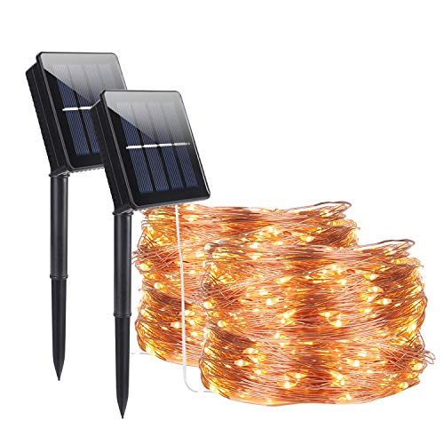 Stringa Luminosa Solare, ALED LIGHT 2 pacchi 30M/98.2ft 300 LED 8 Modalità Catena Luminosa Solare Esterno Impermeabile Illuminazione LED Lucine per Decorative Feste Giardino Patio (Bianco caldo)