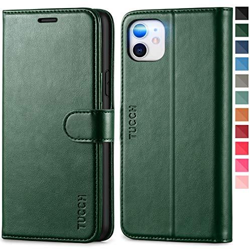 TUCCH Hülle für iPhone 11, iPhone 11 Hülle RFID [Schützt vor Stößen] Handyhülle mit Magnetverschluss [Verdicktes TPU] [Kartenfach], Booklet Etui kompatibel mit iPhone 11 (6,1 Zoll) Schwarzgrün