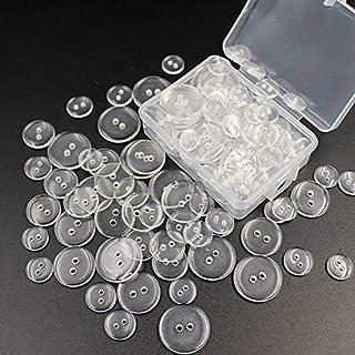 50 قطعة من البلاستيك الراتنج الخياطة أزرار سكرابوكينغ دائرية لونسيان اثنين من الملحقات الشفافة الشفافة (الحجم: 20 مم)